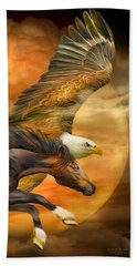 Hand Towel featuring the mixed media Eagle And Horse - Spirits Of The Wind by Carol Cavalaris