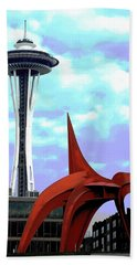 Hand Towel featuring the photograph Eagle And Space Needle Seattle by Yulia Kazansky