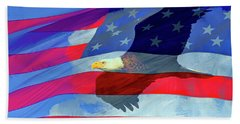 Eagle And Us Flag Bath Towel