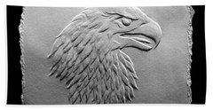 Hand Towel featuring the relief Eagle Head Relief Drawing by Suhas Tavkar