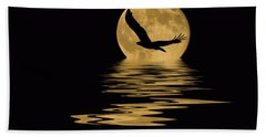 Eagle In The Moonlight Bath Towel