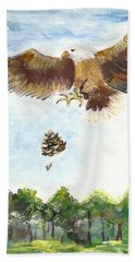 Bath Towel featuring the painting Eagle by Karen Ferrand Carroll