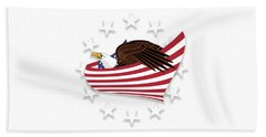 Hand Towel featuring the digital art Eagle Of The Free V1 by Bruce Stanfield