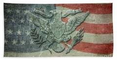 Bath Towel featuring the digital art Eagle On American Flag by Randy Steele