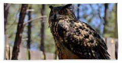 Bath Towel featuring the photograph Eagle Owl by Debby Pueschel
