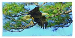Hand Towel featuring the painting Eagle Series Food by Deborah Benoit