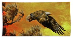 Hand Towel featuring the painting Eagle Series Strength by Deborah Benoit