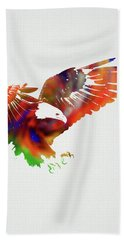 Eagle Wild Animals Of The World Watercolor Series On White Canvas 006 Hand Towel