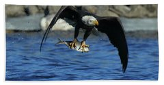 Bath Towel featuring the photograph Eagle With Fish Flying by Coby Cooper