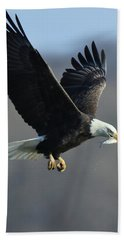 Eagle With Small Fish Bath Towel by Coby Cooper
