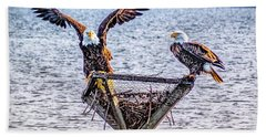 Hand Towel featuring the photograph Eagles In Blackwater Refuge by Nick Zelinsky