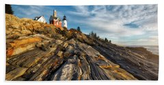 Hand Towel featuring the photograph Early Morning At Pemaquid Point by Darren White