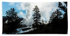 Early Morning Geysers At Yellowstone Hand Towel