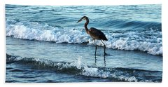 Early Morning Heron Beach Walk Hand Towel