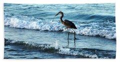 Early Morning Heron Beach Walk Bath Towel