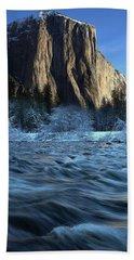 Early Morning Light On El Capitan During Winter At Yosemite National Park Bath Towel