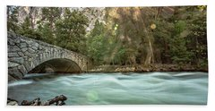 Early Morning On The Merced River Bath Towel by Ryan Weddle