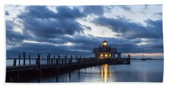 Early Morning Over Roanoke Marshes Lighthouse Bath Towel