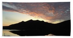 Hand Towel featuring the photograph Early Morning Red Sky by Barbara Griffin