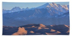 Early Morning Sand Dunes And Snow Covered Peaks Bath Towel by James BO Insogna