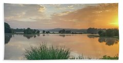 Early Morning Sunrise On The Lake Bath Towel