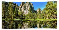 Early Morning View At Cathedral Rocks Vista Hand Towel