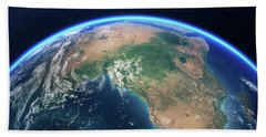 Earth From Space Africa View Bath Towel