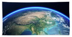 Earth From Space Asia View Hand Towel