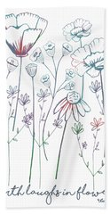 Bath Towel featuring the digital art Earth Laughs In Flowers by Heather Applegate