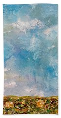 Bath Towel featuring the painting East Field Seedlings by Judith Rhue