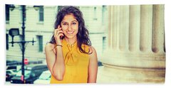 East Indian Woman Calling Outside Hand Towel