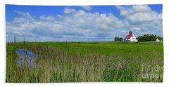 East Point Lighthouse Across The Marsh  Bath Towel by Nancy Patterson