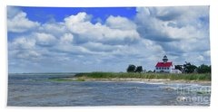 East Point Lighthouse At High Tide Hand Towel by Nancy Patterson