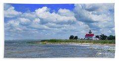 East Point Lighthouse At High Tide Bath Towel