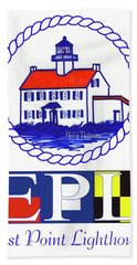 Hand Towel featuring the digital art East Point Lighthouse Poster - 2 by Nancy Patterson