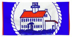 Hand Towel featuring the mixed media East Point Lighthouse Road Sign by Nancy Patterson