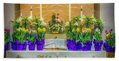 Bath Towel featuring the photograph Easter Alter And Flowers by Nick Zelinsky