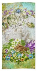 Bath Towel featuring the mixed media Easter Breakfast by Mo T