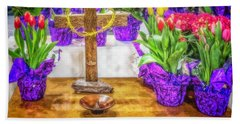 Bath Towel featuring the photograph Easter Flowers by Nick Zelinsky