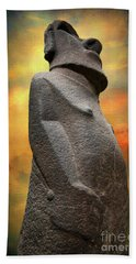 Bath Towel featuring the photograph Easter Island Moai by Adrian Evans
