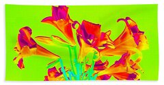 Bath Towel featuring the photograph  Vibrant Lilies by Karen J Shine
