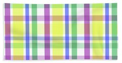 Bath Towel featuring the digital art Easter Pastel Plaid Striped Pattern by Shelley Neff