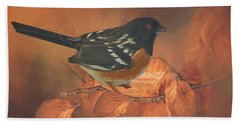 Spotted Towhee In Autumn Hand Towel by Janette Boyd