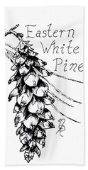 Eastern White Pine Cone On A Branch Bath Towel