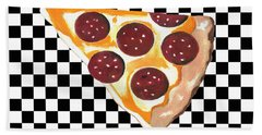 Bath Towel featuring the mixed media Eat Pizza by Kathleen Sartoris
