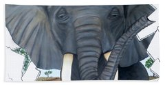 Bath Towel featuring the painting Eavesdropping Elephant by Teresa Wing