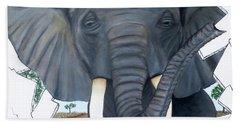 Eavesdropping Elephant Bath Towel