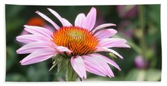 Bath Towel featuring the photograph Echinacea With Visitor by Ellen Tully