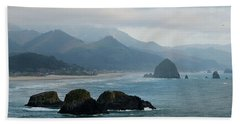 Ecola State Park View Of Haystack Rock And 3 Arch Rocks Bath Towel