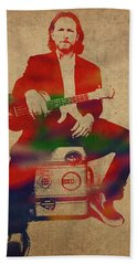Eddie Vedder Pearl Jam Watercolor Portrait Hand Towel